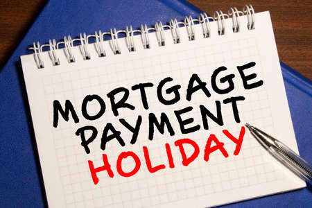 Calculator with the word 'Help' and Notepad with text 'Mortgage Payment Holiday'.
