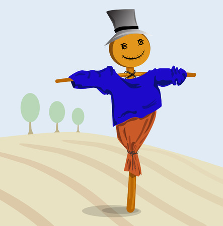 autumn scarecrow: Scarecrow in a hat standing in autumn field Illustration