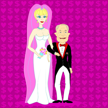 thrift: Young beautiful blonde married to an old man for money. Illustration