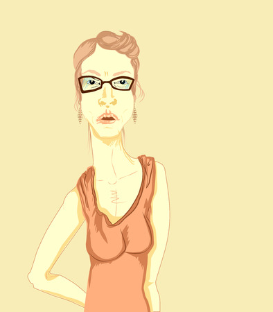 Woman with glasses in a dress with shoulder straps and earrings. Illustration