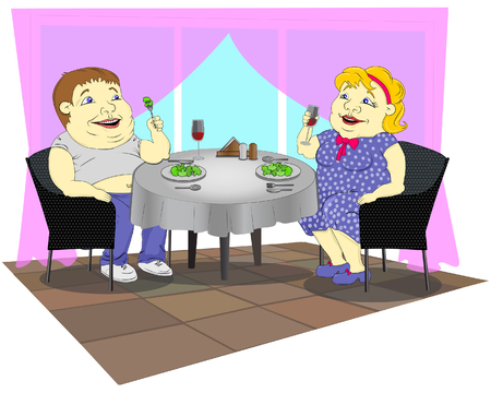 A fat woman in a polka-dot dress and a fat man in jeans are sitting in a restaurant, eating broccoli and drinking red wine.