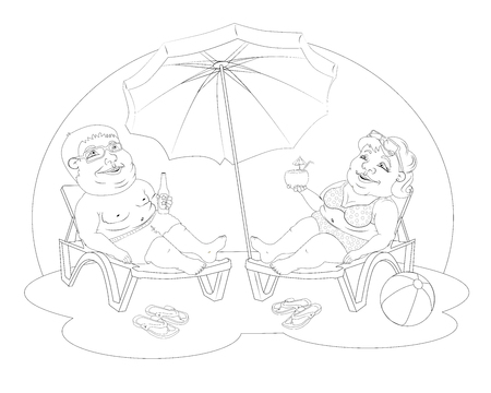 happy couple: Fat people on the beach Illustration