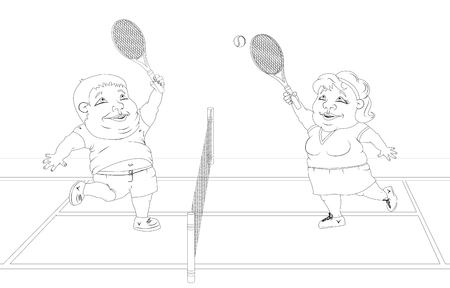 fat people playing tennis on the court. White and black picture
