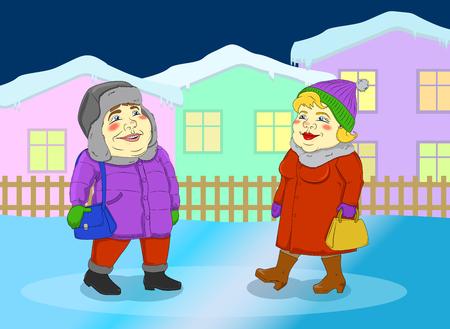 pareja comiendo: mujer y hombre caminando en una pequeña ciudad de invierno Vectores