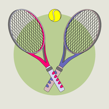 Tennis racket and ball. Color vector picture