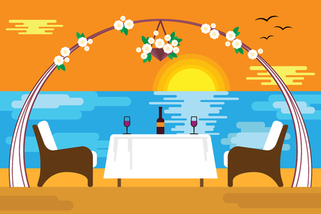Romantic evening at the sea in flat design style. Table in the restaurant for two under the arch of flowers