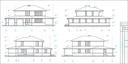 The project is a two-storey individual house. Drawing of four facades. Black and white vector image