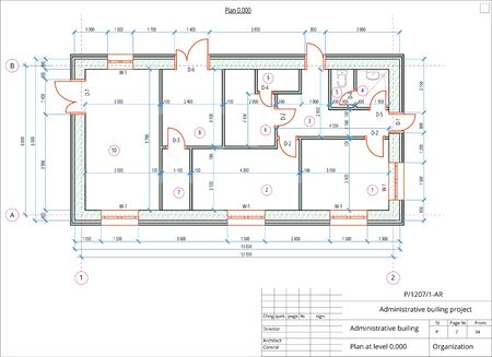 Architectural plan of the administrative building. Color version with place for text and copy space. Vektorgrafik