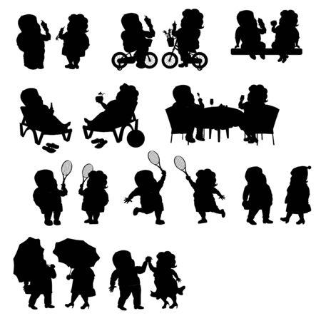 Set - a fat couple in different situations. Black silhouette Ilustração