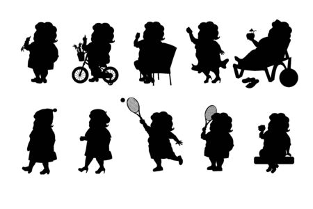 Set - a fat woman in different situations. Black silhouette