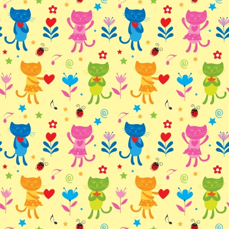Flowers seamless pattern with cats Vector