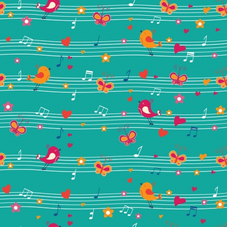 seamless pattern with birds and butterfly Illustration