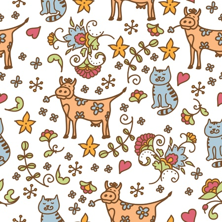seamless flowers pattern with cat and cow Vector