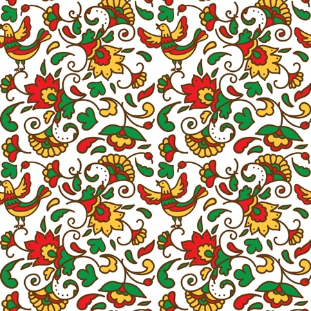 seamless flowers folk pattern