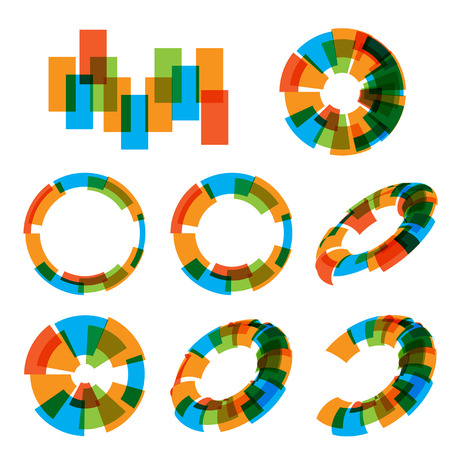Design colorfull elements set icons. Abstract vector spiral background. Circle, ellipse, oval. Diagram.
