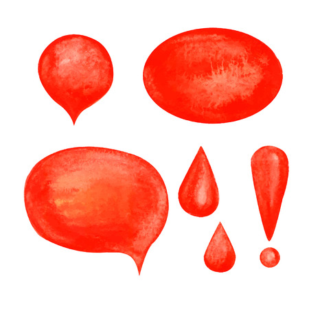 Watercolor background. Vector elements. Red Bubbles. Set.