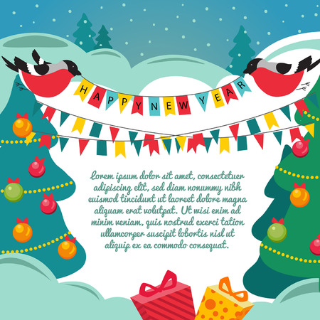 Christmas card with a birds. Vector background. Template. Place for text. Vector