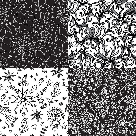 Hand Drawn Vector Flowers Patterns. Set Seamless Floral Backgrounds. Black and White. Can be used for invitation, wallpaper, background, surface, web page, card, textile, fabric.