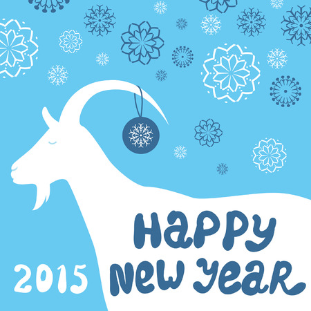 Greeting card with a goat. Happy New Year and Merry Christmas. Vector background.