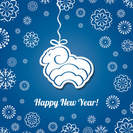 Christmas  blue card with sheep. Vector background. Christmas Background. paper effect. EPS10.