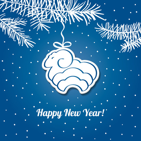 Christmas  blue card with sheep. Vector background. Christmas Background. EPS10.