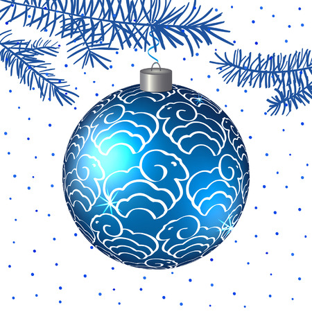 Christmas  blue ball with sheep. Vector background. Christmas Background. EPS10.