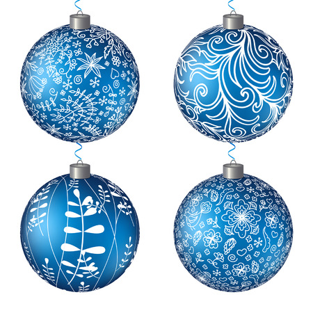 Christmas set blue balls. Vector background. New Year Background. EPS10.