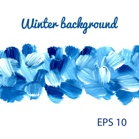 Acrylic Winter background. Vector. Banner. Can be used for wallpaper, background, pack, web page. Blobs, stain, paints blot. Illustration