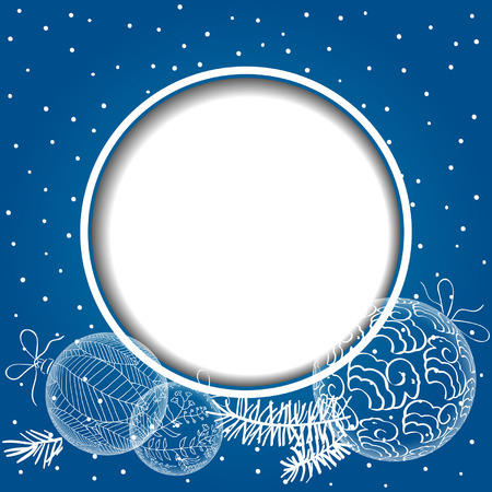 Christmas  blue card with balls. Vector background with sheep. Christmas Background. paper effect. EPS10.