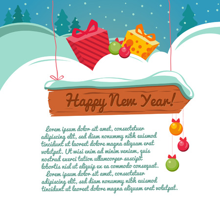 Christmas card with a gift box. Vector background. Template. Place for text.