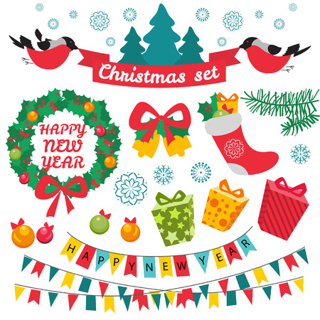 Set of colorful christmas characters and decorations. Retro style. Vintage. Vector background.