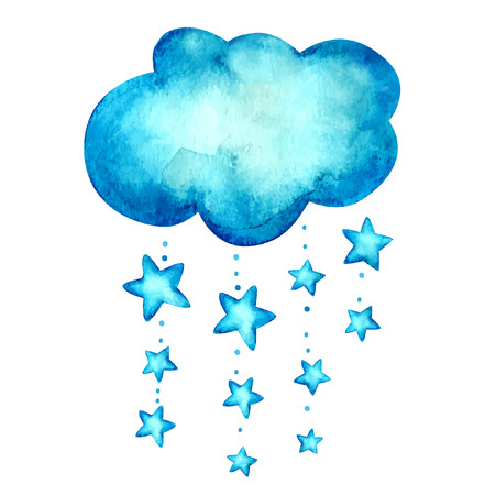 Watercolor blue background. Cloud. Vector background.