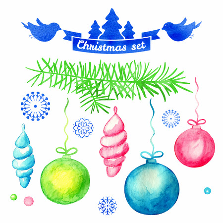 Watercolor christmas background. Christmas Set. Christmas fir tree and balls. Vector background. Frame.