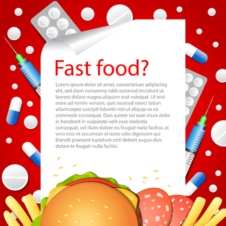 Medical background. Diet. Vector backdrop. Fast food. Health.