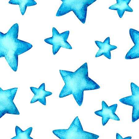 Seamless Watercolor blue background. Stars. Vector pattern. Illustration