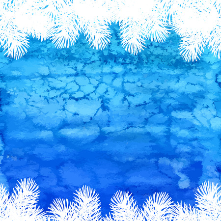 Blue christmas background. Christmas fir tree. Vector watercolor background.