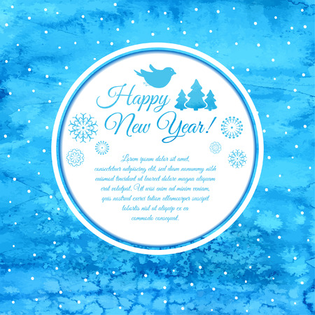 Watercolor Christmas blue card with snowflakes. Vector background. New Year Background.  EPS 10.