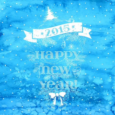 Vintage New Year background. Typography. Watercolor Christmas blue card. EPS 10.