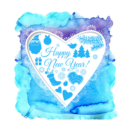 Watercolor Christmas blue card with heart. Vector background. New Year Background. EPS 10.
