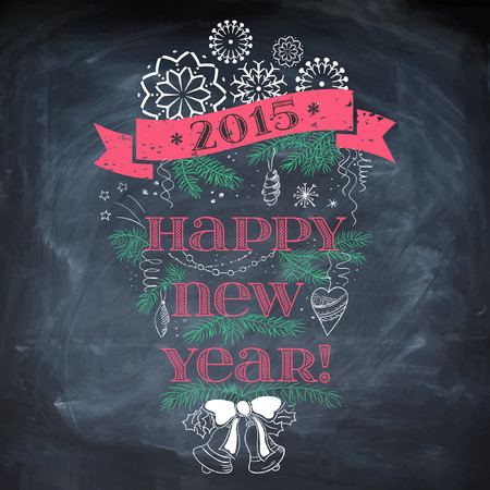 Vintage New Year background. Typography on blackboard with chalk. Illustration