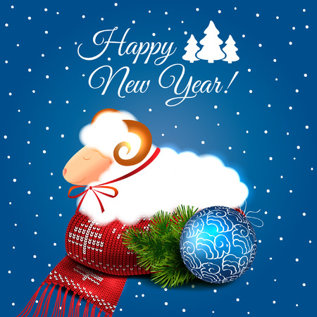 Christmas blue vector background with ball, scarf and gingerbread. 2015. New Year. Vector