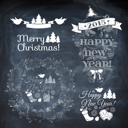 Vintage New Year background. Set of Typography on blackboard with chalk. Christmas vector background. Vector