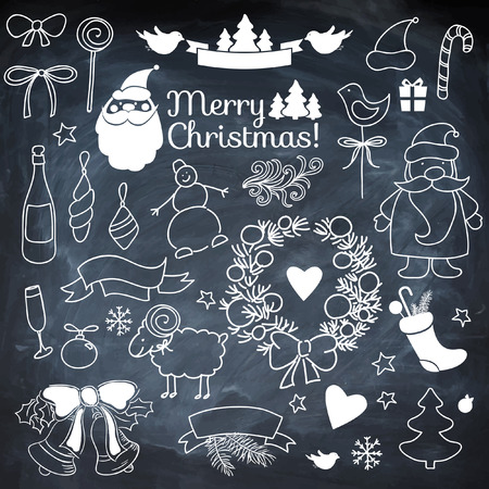 Set of Christmass elements on blackboard with chalk. Vector background.