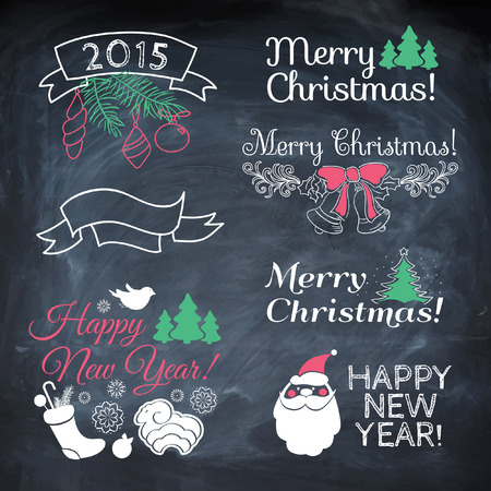 Vintage New Year background. Set of Typography on blackboard with chalk. Christmas vector background.