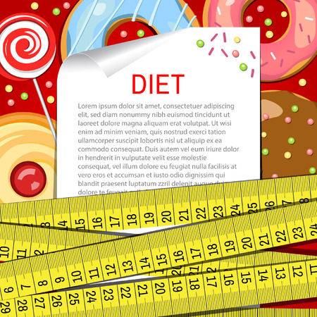 Vector background with donuts. Diet. High sugar. Vector backdrop. Health care. Illustration