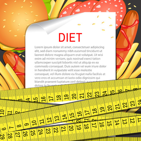 Vector background. Diet. Fast food. Vector backdrop. Health care. Illustration