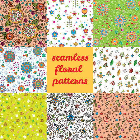 Seamless floral patterns. Set of 8 flowers patterns. Hand Drawn Vector Flowers Patterns. Set Seamless Floral Backgrounds.