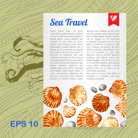 Vector template. Background with seashells and octopus. Watercolor. Card. Illustration