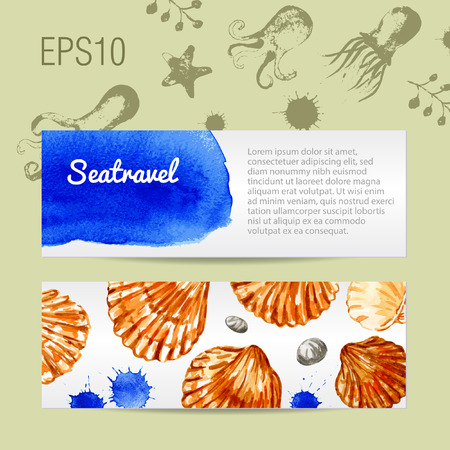 Vector template. Background with seashells and octopuses. Watercolor. Card.