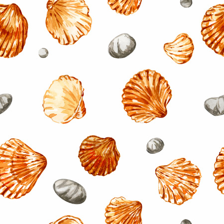 Seamless pattern. Background with seashells. Isolated on white. Vector illustration. Watercolor.